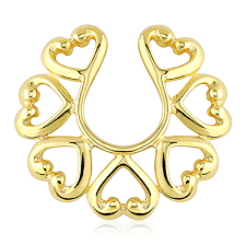 Hearts 14Kt Gold Plate Non Piercing Nipple Ring Set